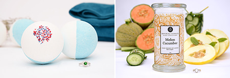 Imperial Candles Melon Cucumber ring candle and Piña Colada bath bomb offered as prizes in our giveaway