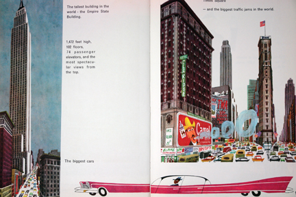 "page from vintage book, ""This is New York"" by Miroslav Sasek featuring skyscrapers and pink stretch Cadillac 