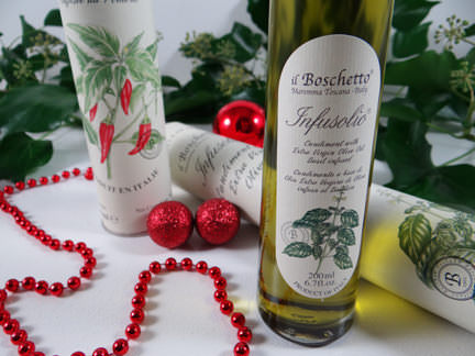 tall bottles of infused olive oils from a John Lewis Christmas hamper