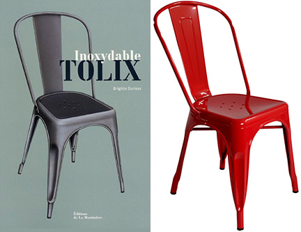 Vintage & reproduction Xavier Pauchard Tolix model A chairs side by side