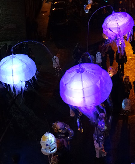Jellyfish lanterns at the Todmorden Lamplighter Festival 2014