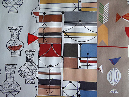Samples of David Whitehead & Sons reissued fabric