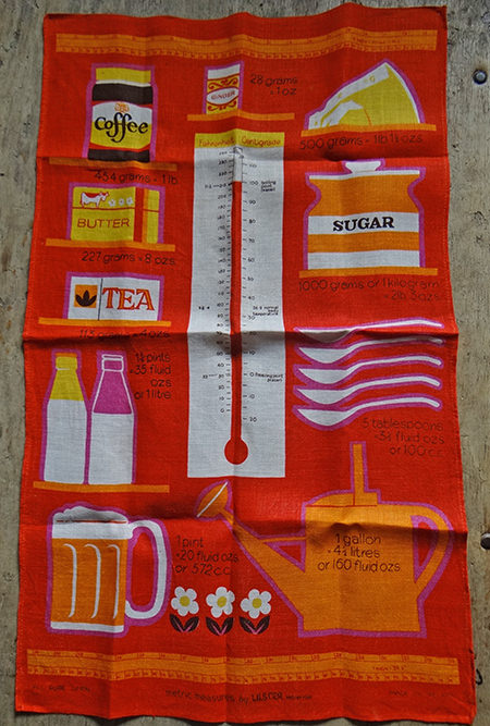 vintage metric measures tea towel