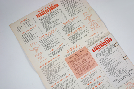 menu items from the 1950 Porterhouse menu