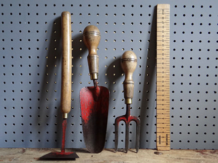 vintage miniature set of garden tools
