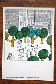 Vintage menu with cover illustration of men playing bowls in a park