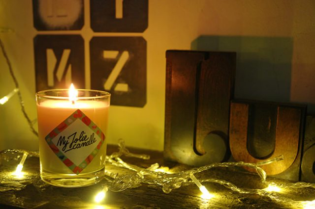 Lit My Jolie Candle with vintage industrial letters | H is for Home