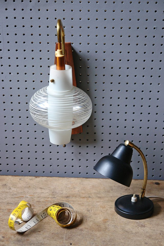 Small goose neck desk lamp and mid century modern teak, metal & glass wall pendant lamp