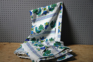 Vintage blue & green bird patterned curtains | H is for Home