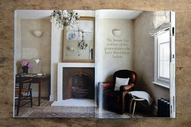 Eclectic sitting room cum study from the 'Less is More' article in the May 2016 edition of Country Living magazine