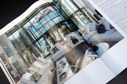 page showing living room area in Ian Sipmson's apartment in Manchester's Beetham Tower featured in the Elle Decoration September 2013 magazine