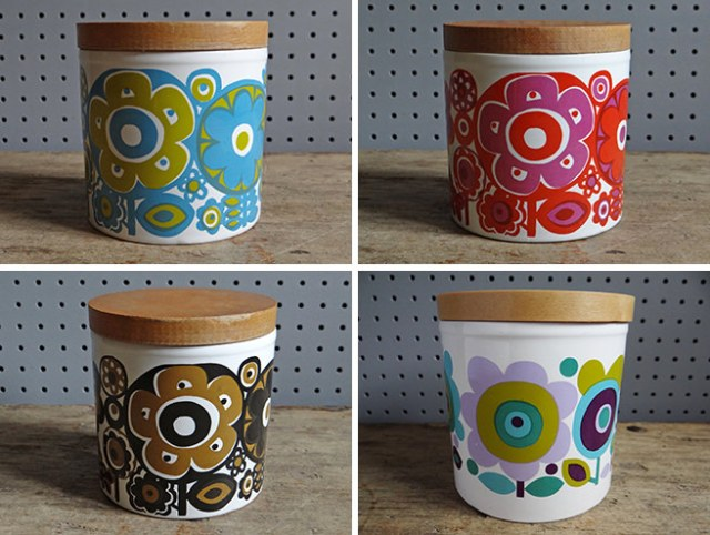 Four vintage Staffordshire Potteries lidded storage jars designed by Elayne Fallon | H is for Home