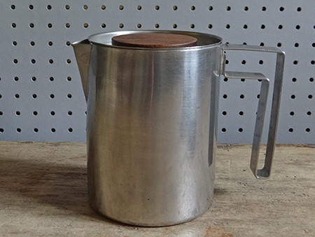 Vintage stainless steel & teak tea pot