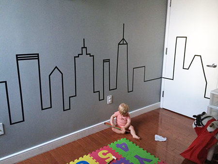 Washi mural of urban skyline in kid's room