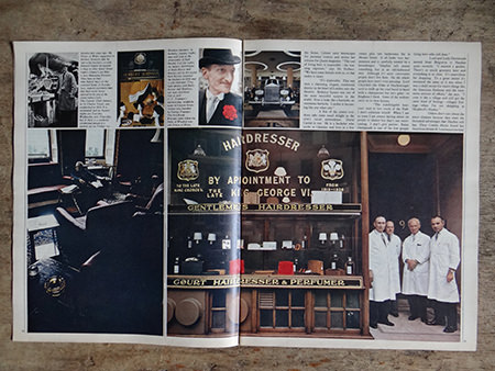 photograph of G.F. Trumper Hairdressing shop from an original Sunday Times magazine from 1966