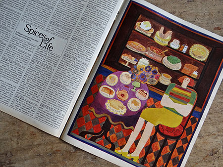 illustration accompanying a feature on spices from an original Sunday Times magazine from 1966