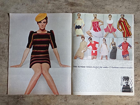 photograph of under 23 fashion contest finalists from an original Sunday Times magazine from 1966