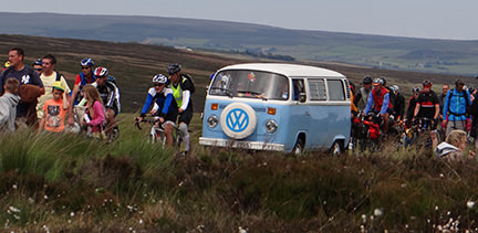 Sky blue vintage VW campervan at the Tour de Yorkshire in Cragg Vale