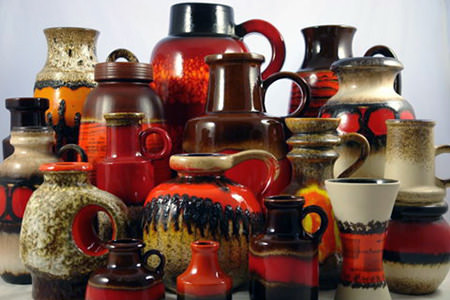 Collection of vintage West German pottery vases