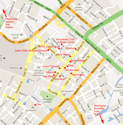 map of the Northern Quarter, Manchester with vintage & handmade shops marked out