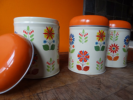 set of 3 vintage Worcester Ware storage tins with floral pattern