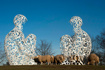 Twins l and ll by Jaume Plensa at Yorkshire Sculpture Park