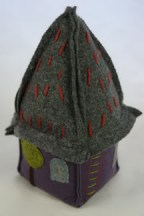purple fabric & felt house doorstop designed & made by Sarah Nicol
