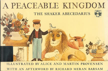Vintage childrens book cover: 'A Peaceable Kingdom, the Shaker Abecedarius' illustrated by Alice and Martin Provensen | H is for Home