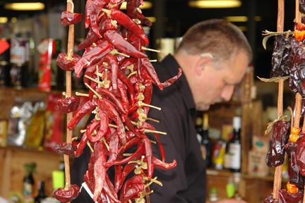 Alexander Gourmet Med Mediterranean stall on Todmorden outside Market