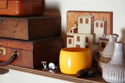 vintage Italian tile on our bathroom shelf | H is for Home