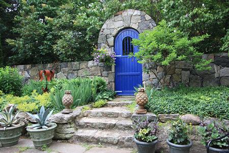Cornflower blue garden door