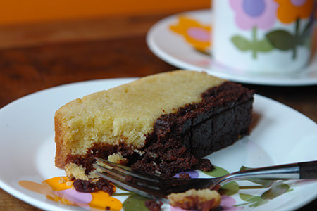 Slice of home made brownie butter cake | H is for Home