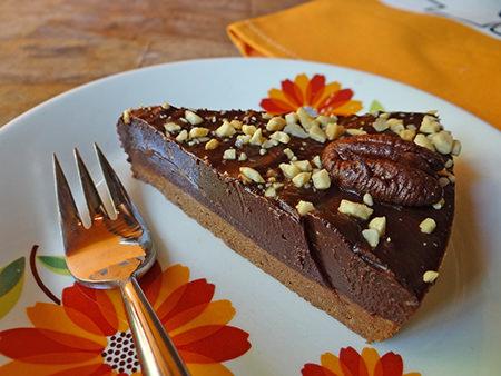 Slice of home-made double choc nut tart via @hisforhome