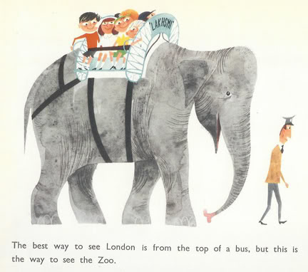 Illustration of an elephant carrying children from 'This is Edinburgh' by Miroslav Sasek, 1961 | H is for Home