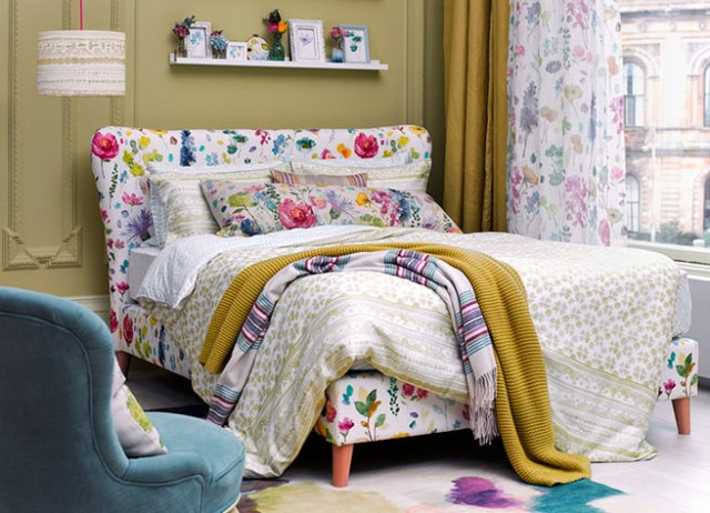 Button & Sprung bed with floral upholstered headboard and base