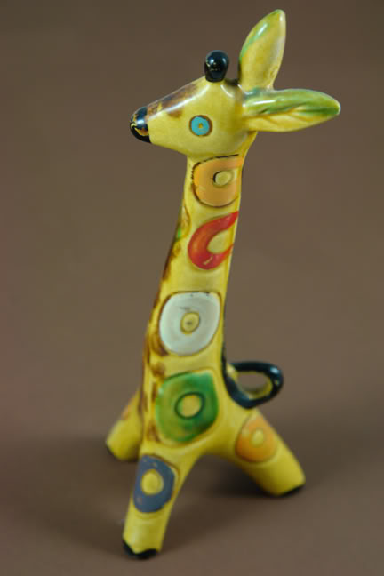 Vintage pottery giraffe produced by Lomonosov of the USSR