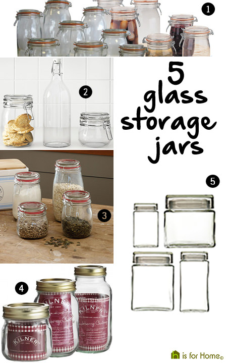 selection of glass storage jars