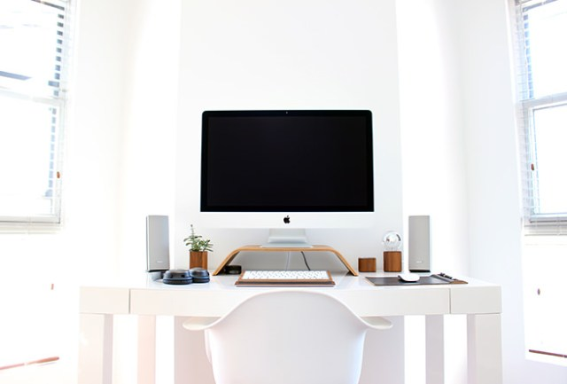 All white home office