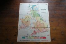 Vintage 'Isotherms' school wall map of the UK