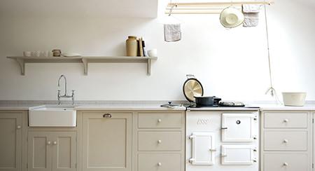 Khaki coloured Shaker-style kitchen