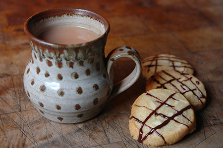 Home-made marzipan refrigerator cookies and mug of tea | via @hisforhome