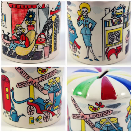 Mosaic of four views of a vintage 1950s pottery money box | H is for Home