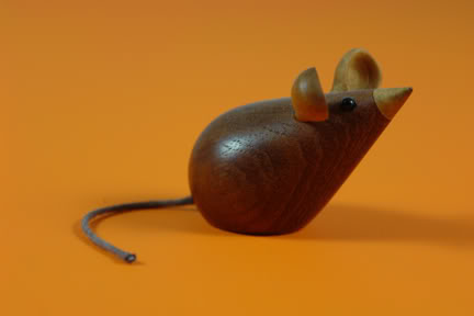 Vintage Scandinavian teak mouse