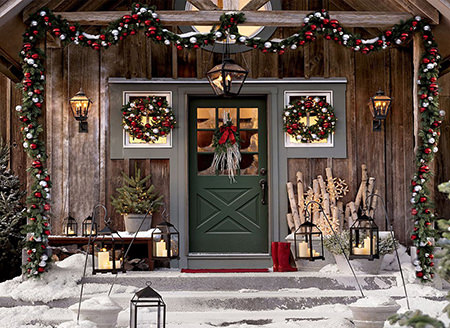 Christmas decorations around a front porch