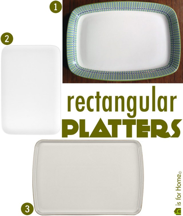 Three rectangular platters