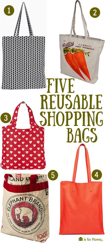 Selection of 5 reusable shopping bags