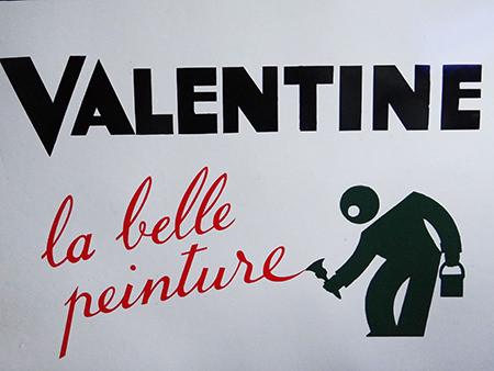 Vintage enamel sign, 'Valentine la belle peinture'