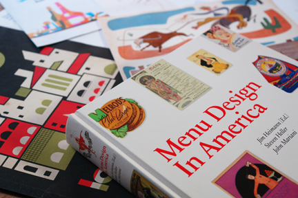 """Menu Design In America"" book with collection of vintage menus"