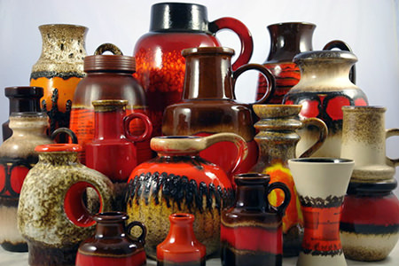 Collection of vintage West German 'Fat Lava' pottery vases