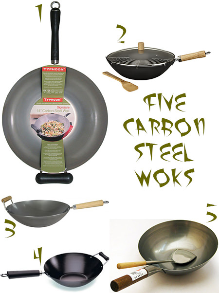 selection of 5 large carbon steel woks via H is for Home